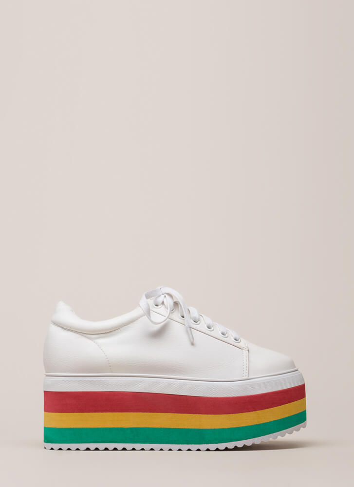 In The Heights Striped Platform Sneakers WHITE