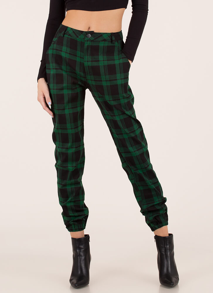 Feels Good To Be Plaid Jogger Trousers GREENBLACK