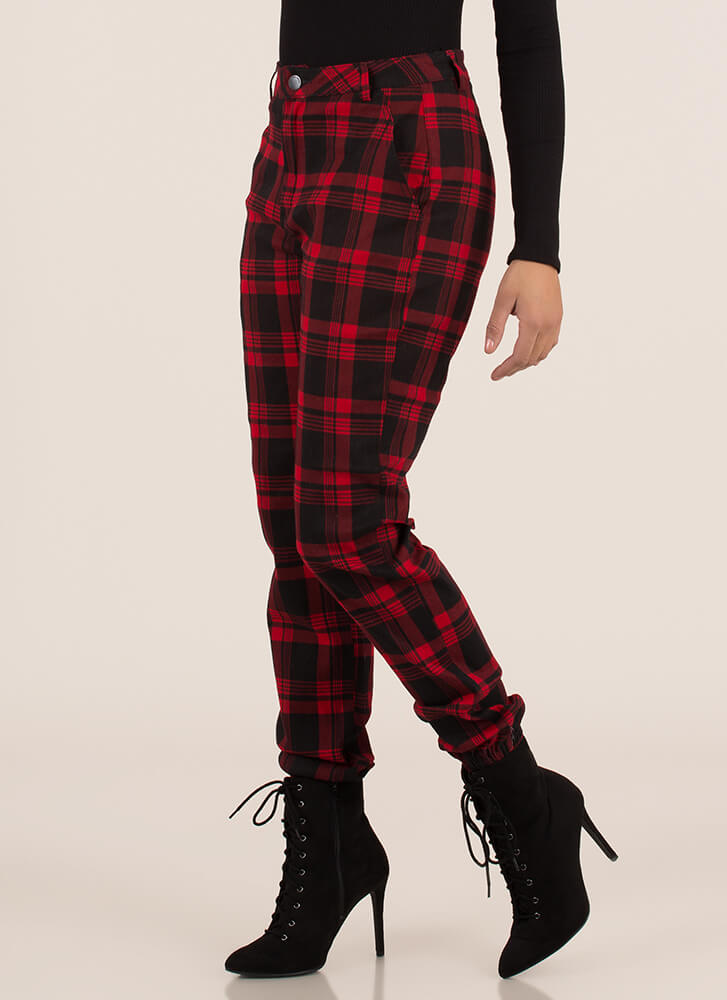 Feels Good To Be Plaid Jogger Trousers REDBLACK
