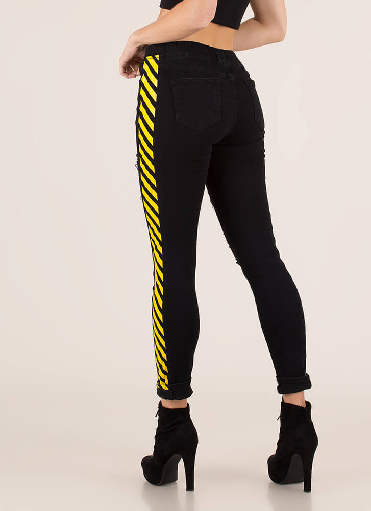 Warning Sign Distressed Striped Jeans BLACKYELLOW (You Saved $21)