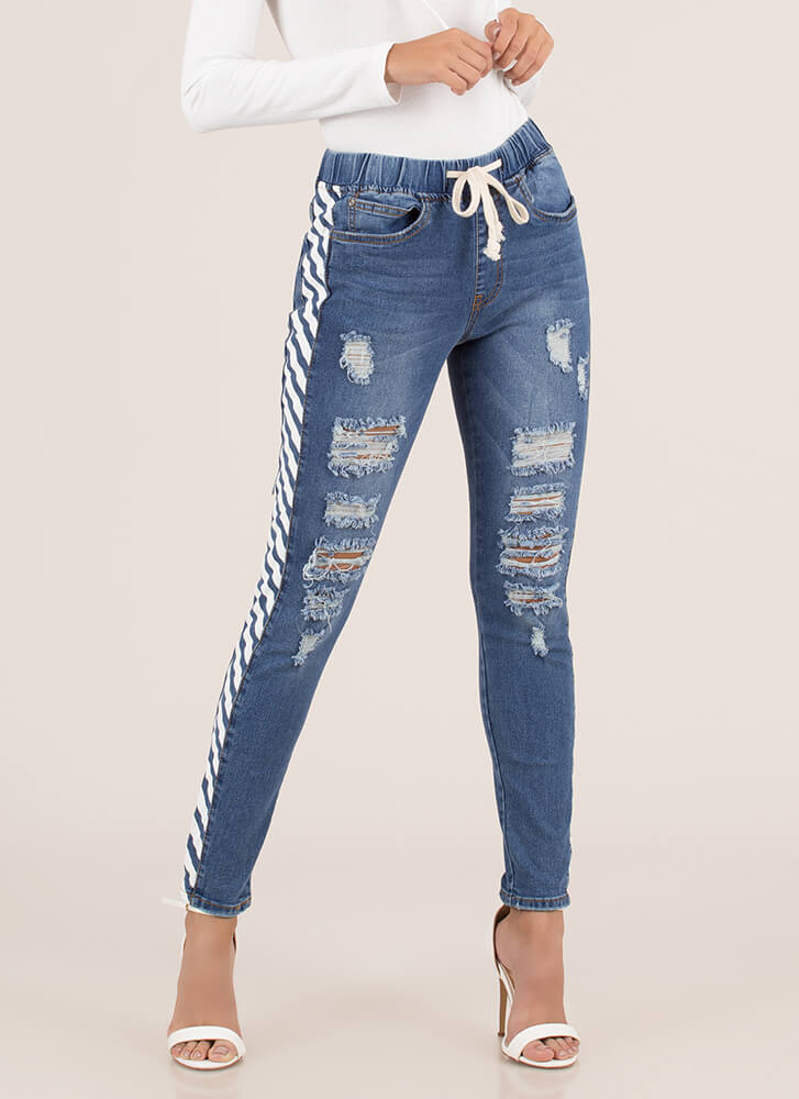 Warning Sign Distressed Striped Jeans BLUEWHITE (You Saved $21)