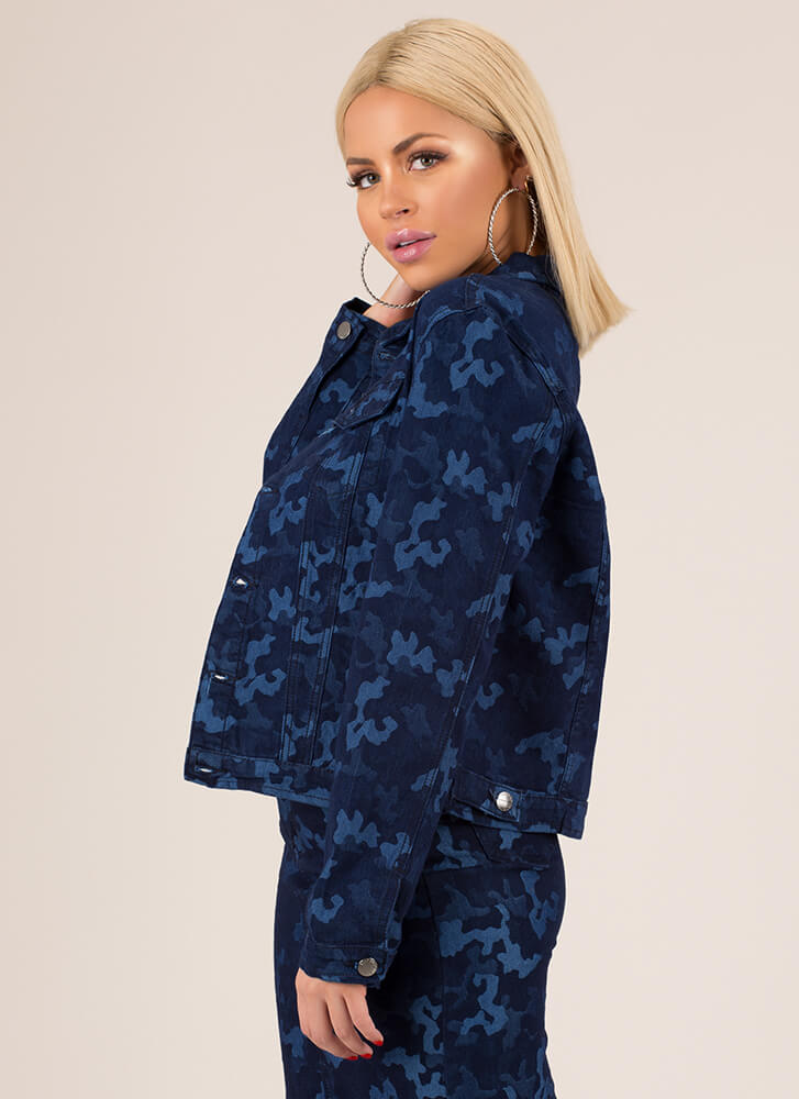Cool In Camo Button-Up Jean Jacket BLUE