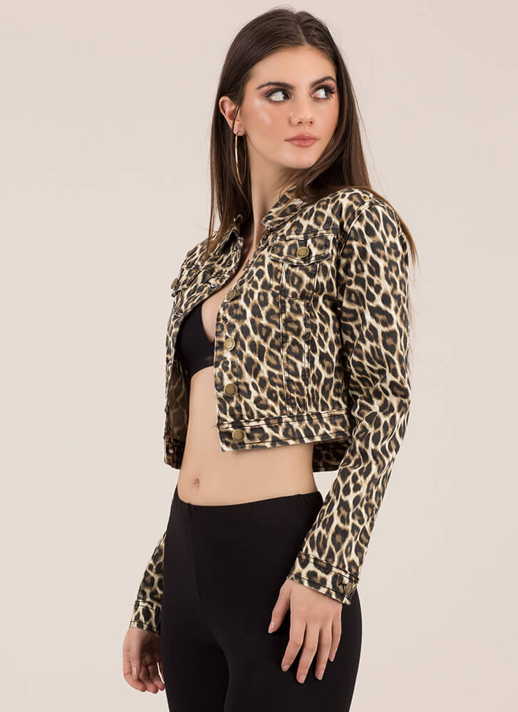 Wild Thang Cropped Leopard Jacket LEOPARD (You Saved $24)