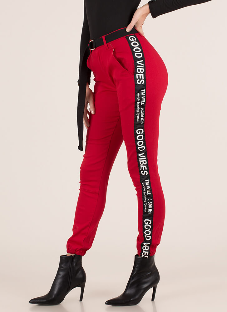 Good Vibes Striped Jogger Trousers RED