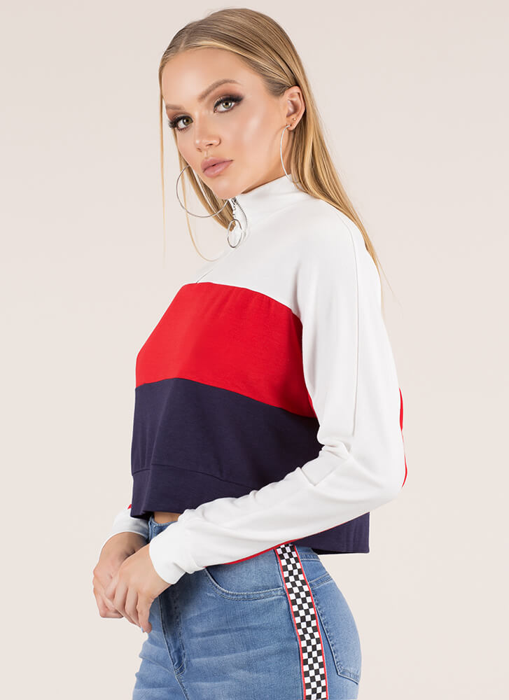 It Takes Three Zip-Front Colorblock Top NAVYMULTI
