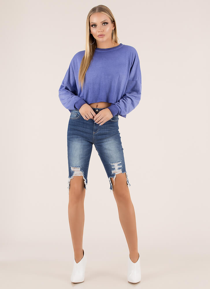 Keep Things Casual Oversized Crop Top BLUE