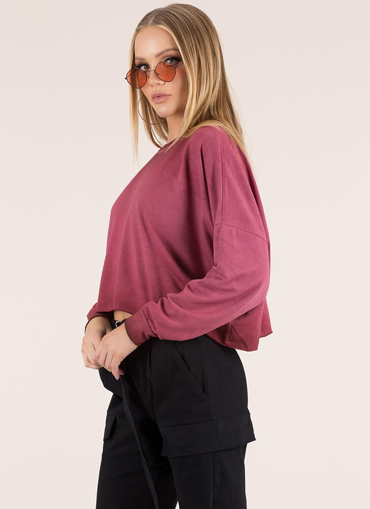 Keep Things Casual Oversized Crop Top BURGUNDY
