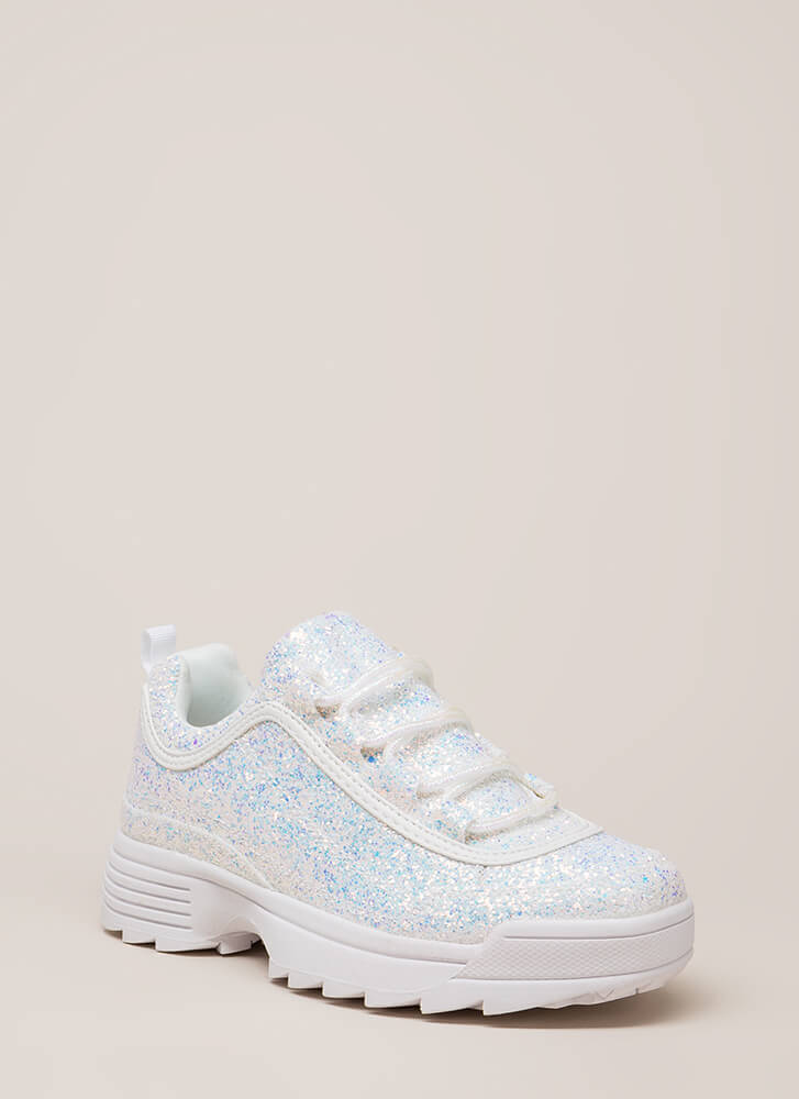 Sparkle On Glittery Platform Sneakers WHITE
