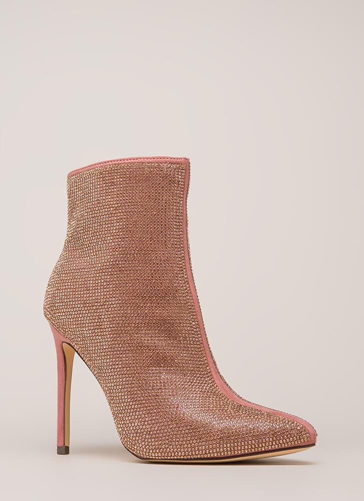 Glam Night Pointy Rhinestone Booties ROSEGOLD