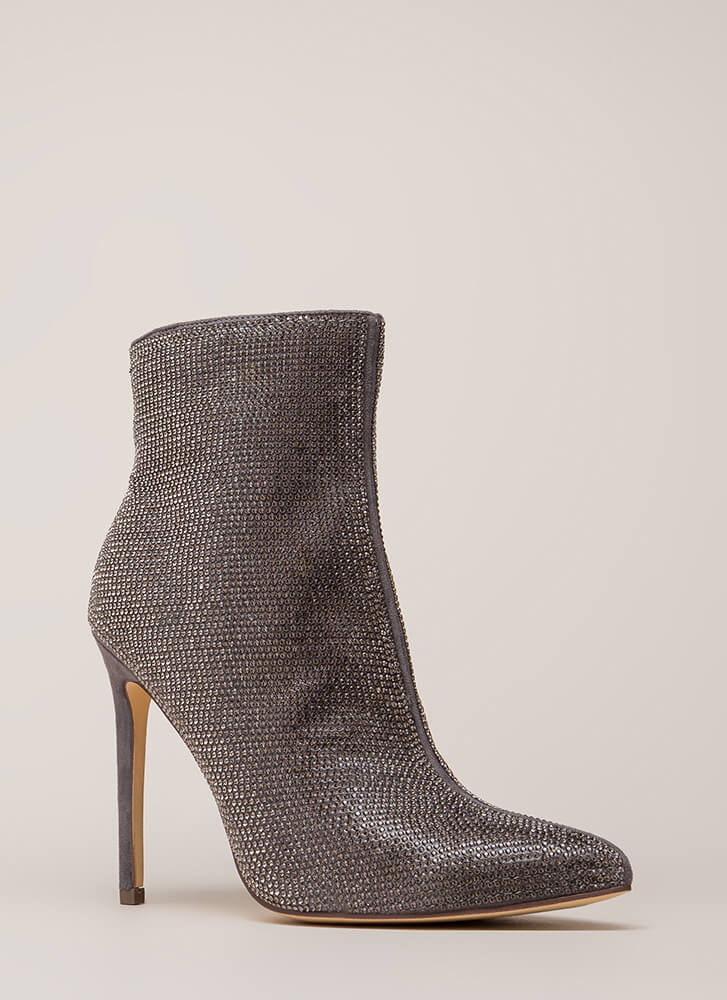 Glam Night Pointy Rhinestone Booties SILVER