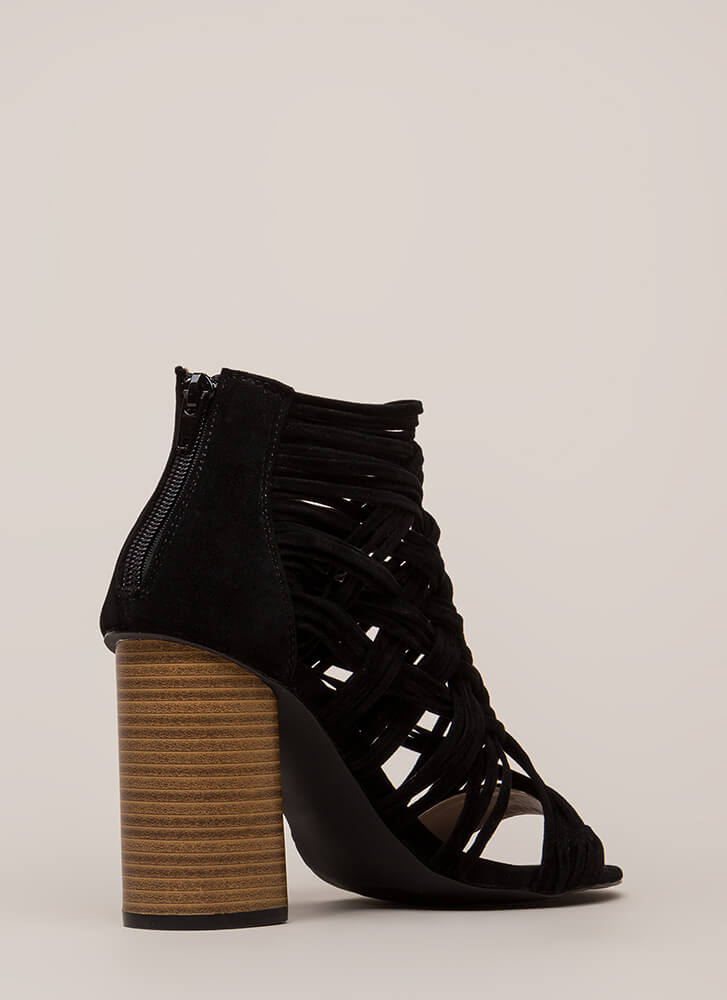 Web Sight Chunky Woven Caged Heels BLACK