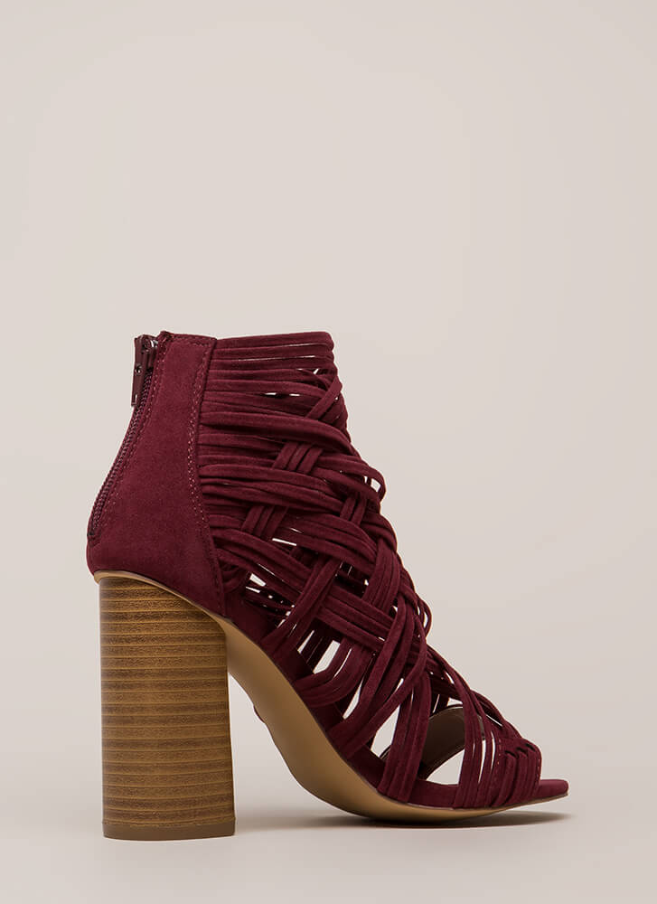 Web Sight Chunky Woven Caged Heels BURGUNDY
