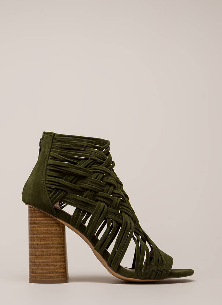 Web Sight Chunky Woven Caged Heels OLIVE