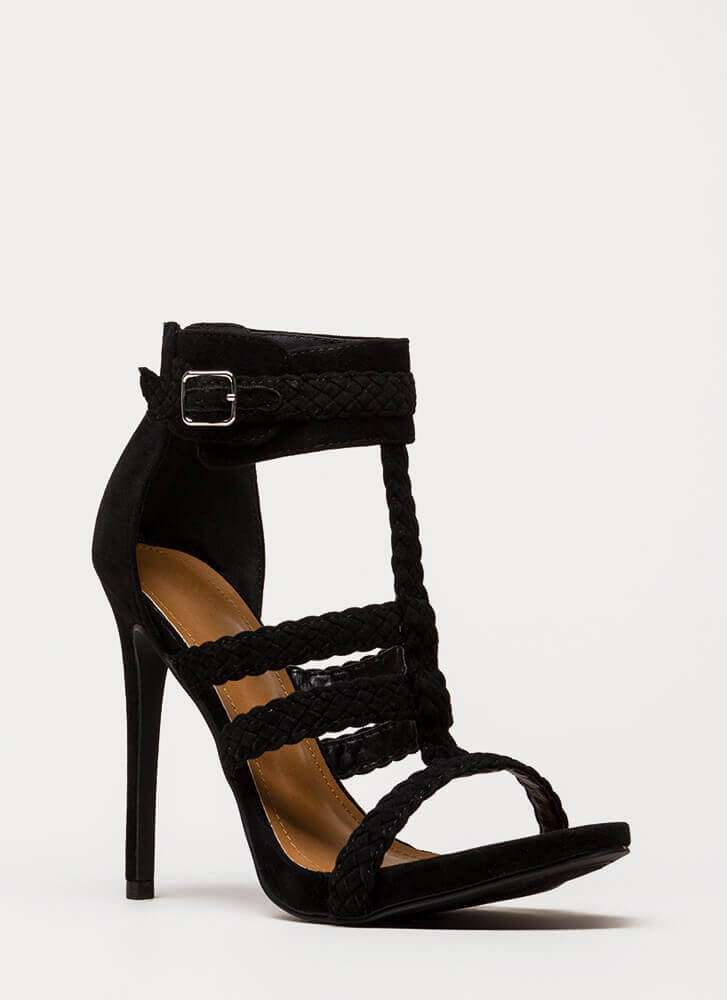 Braid Brigade Strappy Caged Heels BLACK