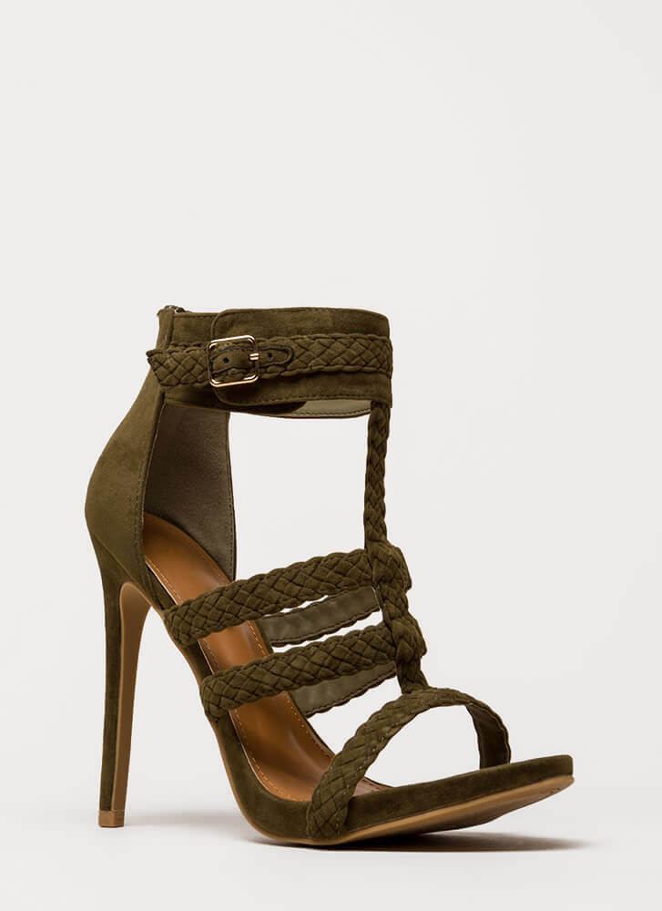 Braid Brigade Strappy Caged Heels OLIVE