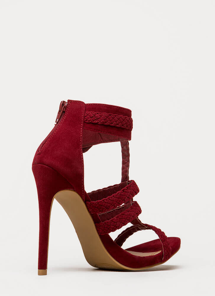 Braid Brigade Strappy Caged Heels WINE
