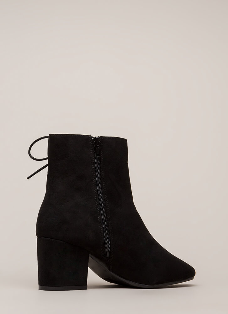 Side Hustle Lace-Up Block Heel Booties BLACK