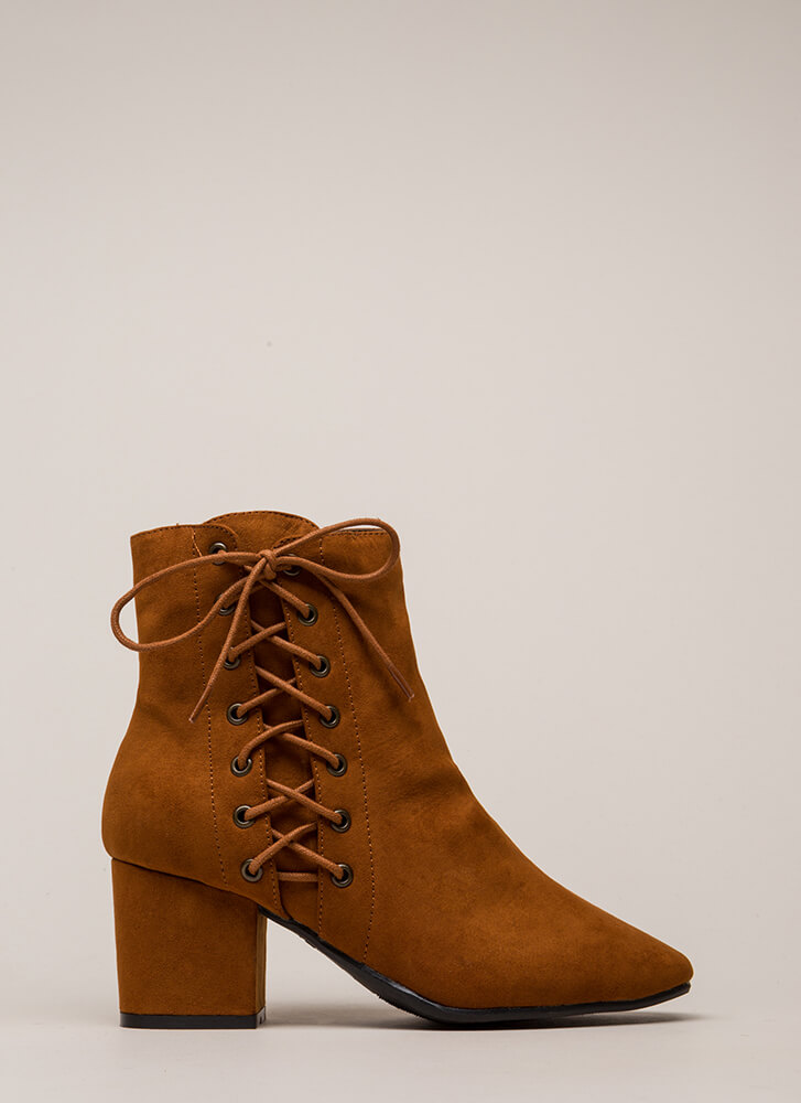 Side Hustle Lace-Up Block Heel Booties CHESTNUT