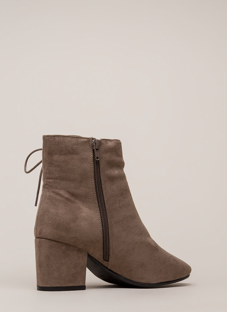 Side Hustle Lace-Up Block Heel Booties TAUPE