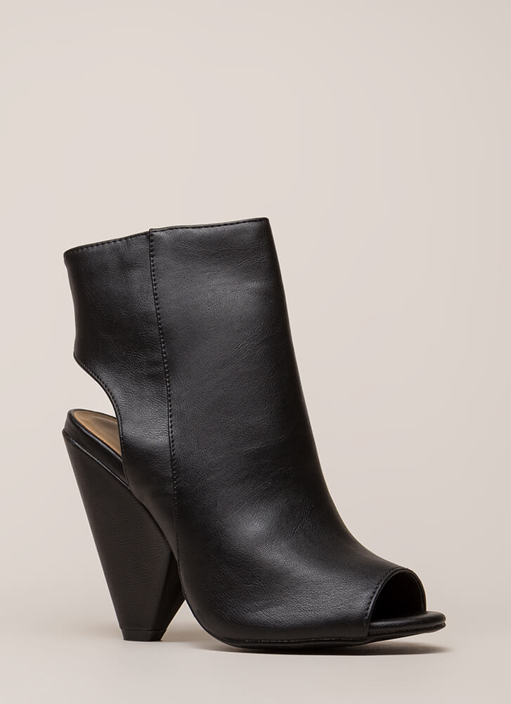 Architecture Cut-Out Peep-Toe Cone Heels BLACK