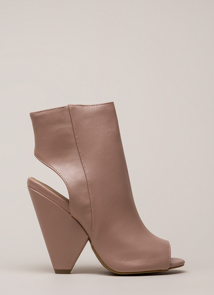 Architecture Cut-Out Peep-Toe Cone Heels DKBLUSH