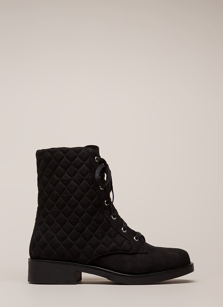 The Stitch-uation Quilted Combat Boots BLACK