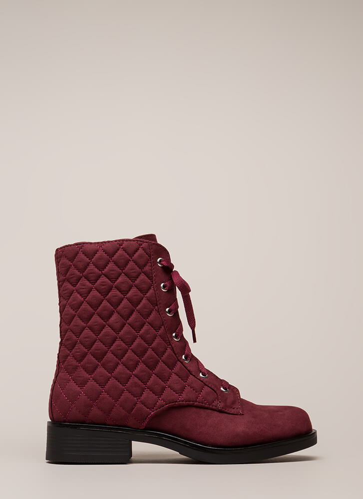 The Stitch-uation Quilted Combat Boots BURGUNDY