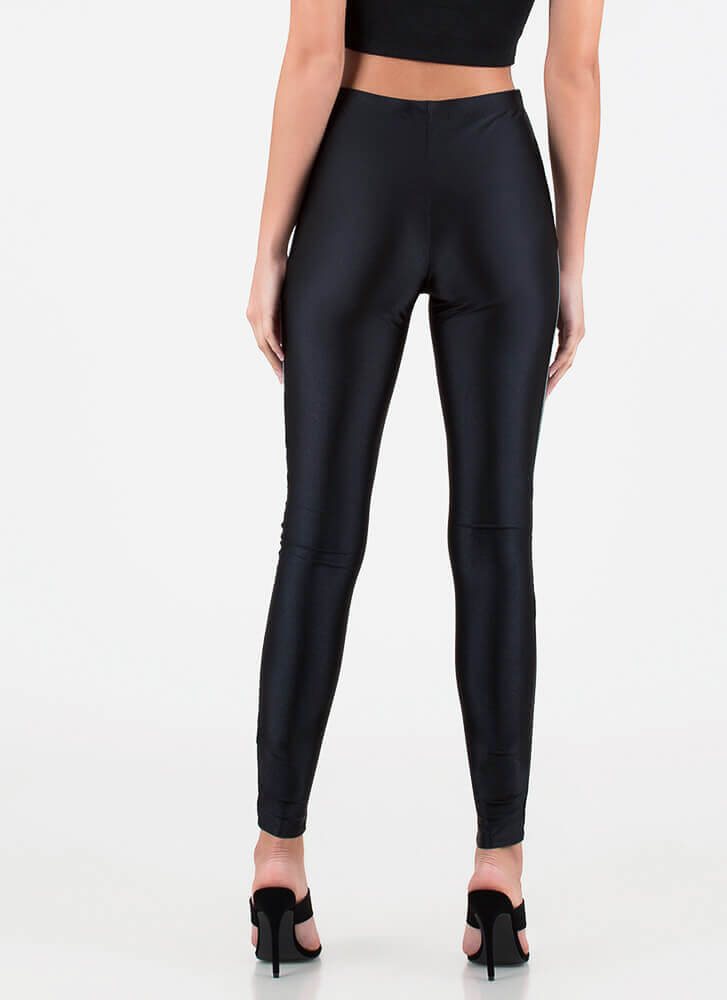Race Is On Sporty Colorblock Leggings BLACK