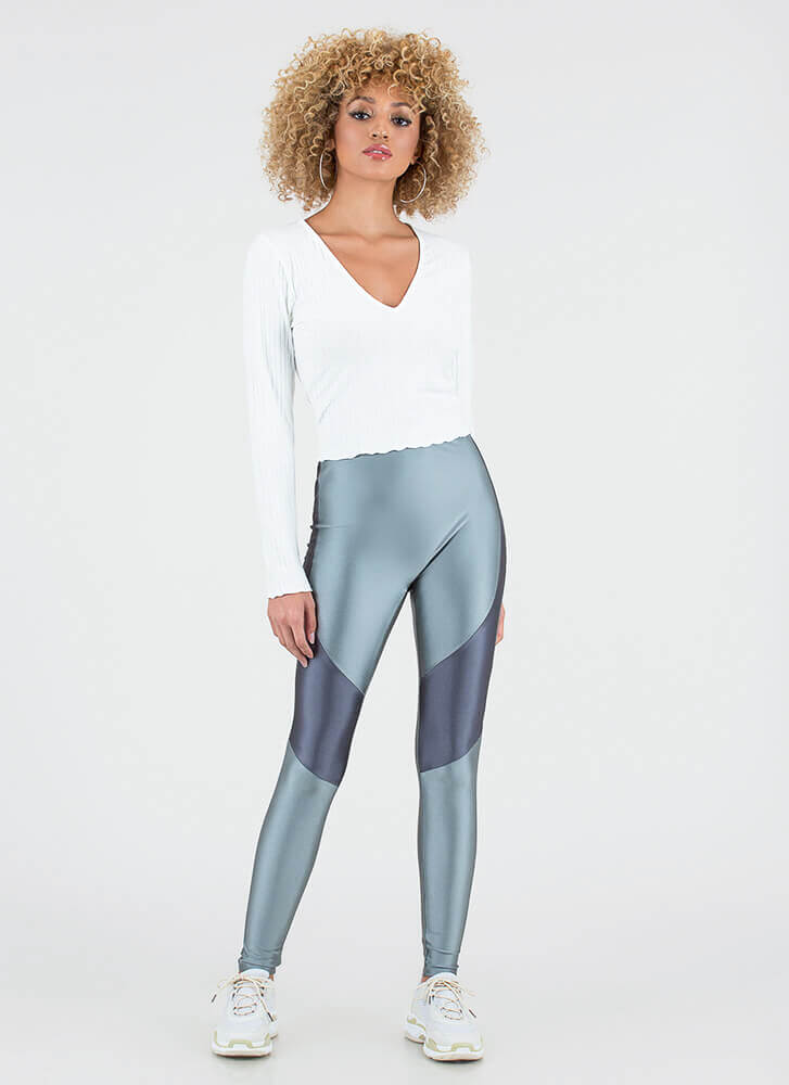 Race Is On Sporty Colorblock Leggings GREY