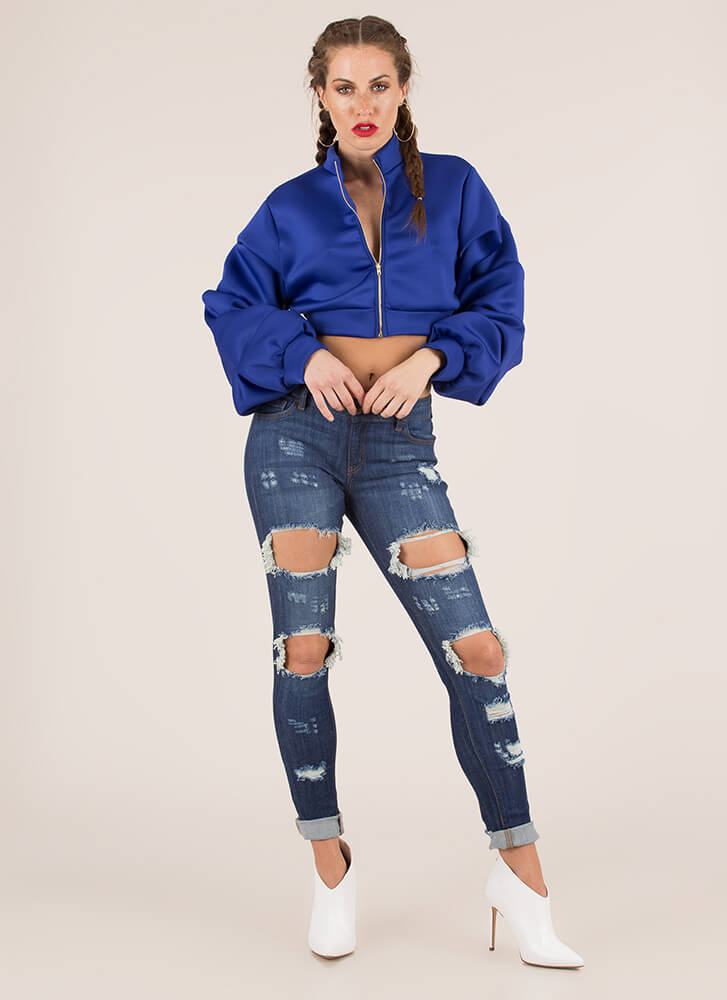 Heart On My Sleeve Zip-Front Crop Top ROYAL (You Saved $24)