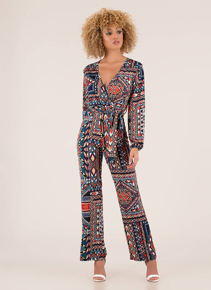 Stand Out Tied Geo-Tribal Jumpsuit BLUEMULTI