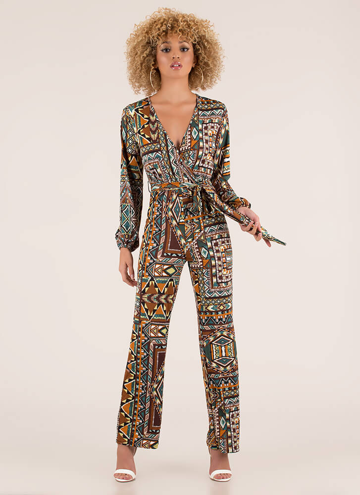 Stand Out Tied Geo-Tribal Jumpsuit MUSTRDMULTI