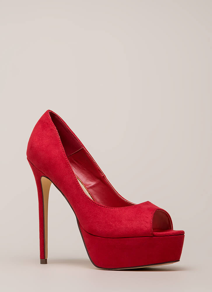 Oh High Faux Suede Peep-Toe Platforms RED (You Saved $20)