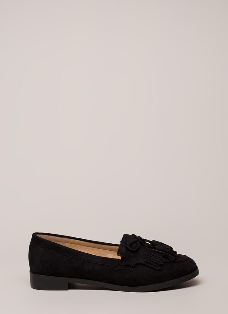 Bow-Getter Fringed Faux Suede Loafers BLACK
