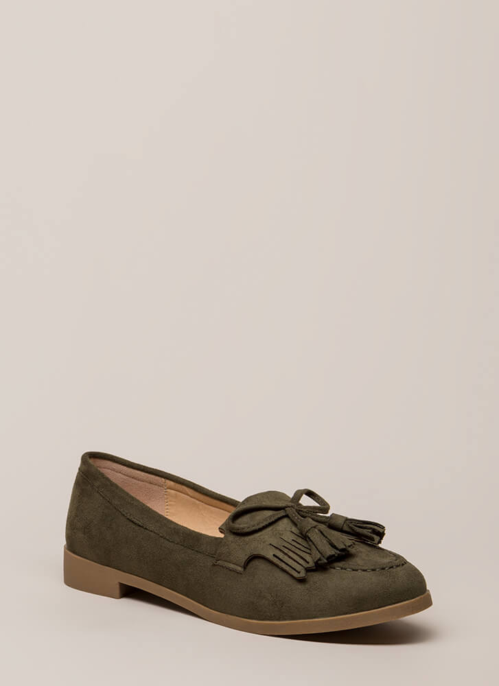 Bow-Getter Fringed Faux Suede Loafers OLIVE