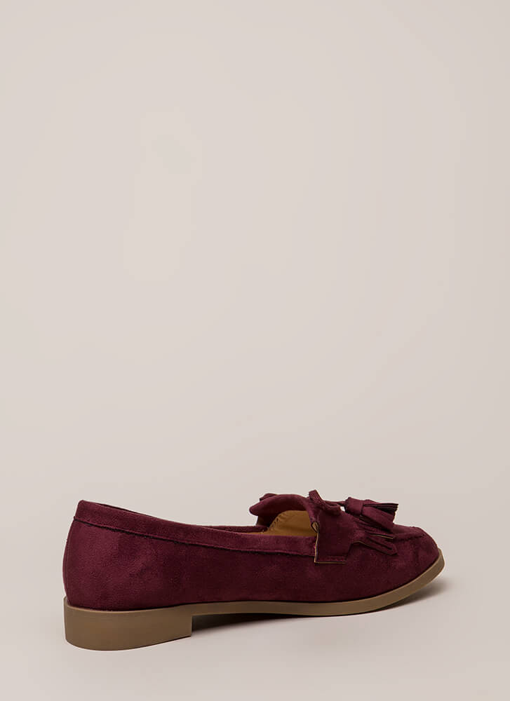 Bow-Getter Fringed Faux Suede Loafers WINE