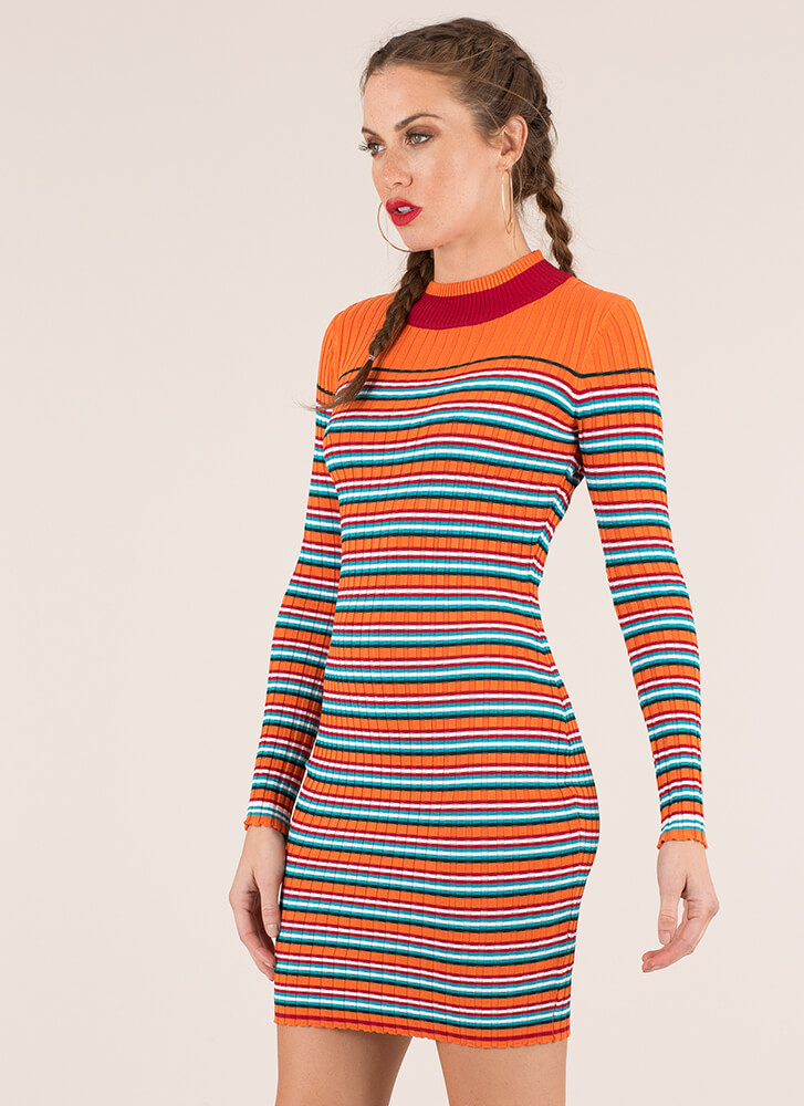Sweater Weather Striped Rib Knit Dress ORANGE (Final Sale)