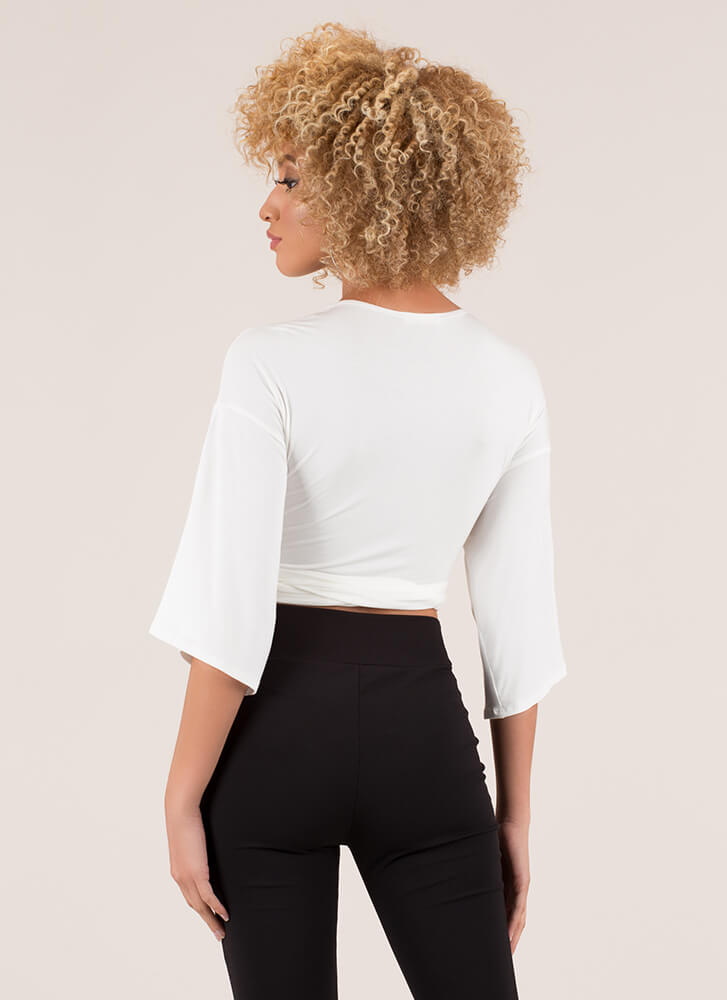 My Way Or The Highway Wrapped Crop Top WHITE