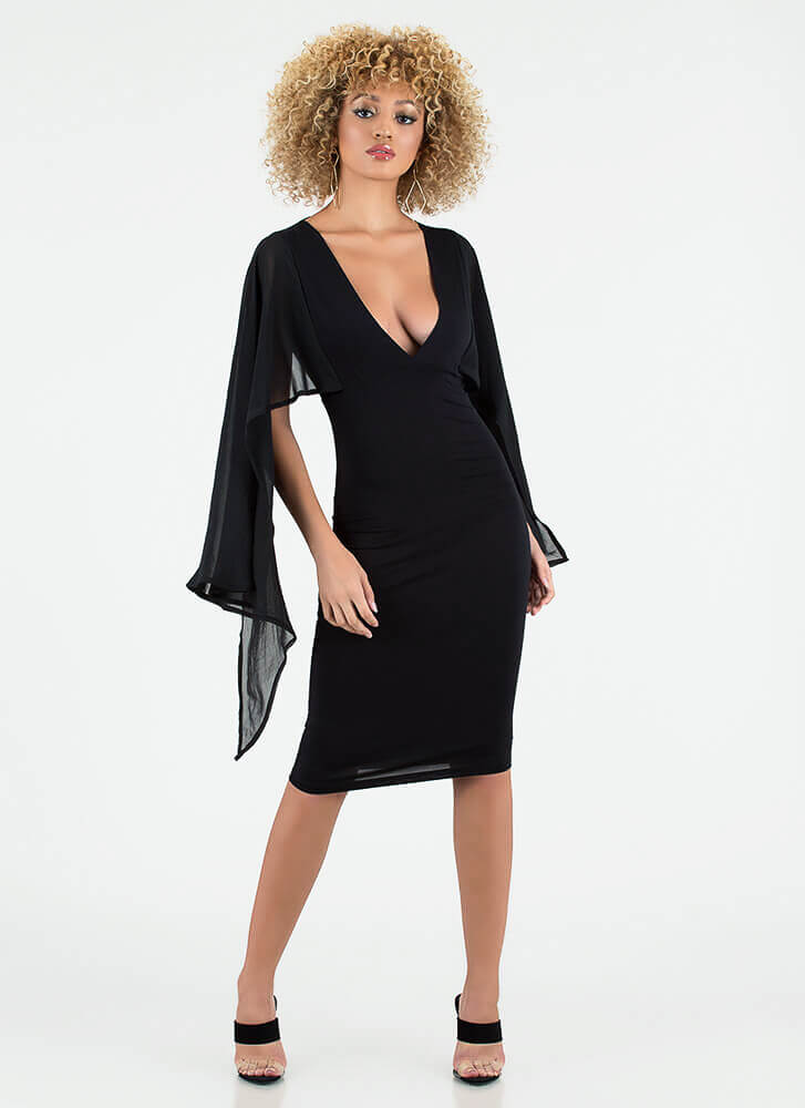 Let's Wing It Sheer Sleeve Midi Dress BLACK
