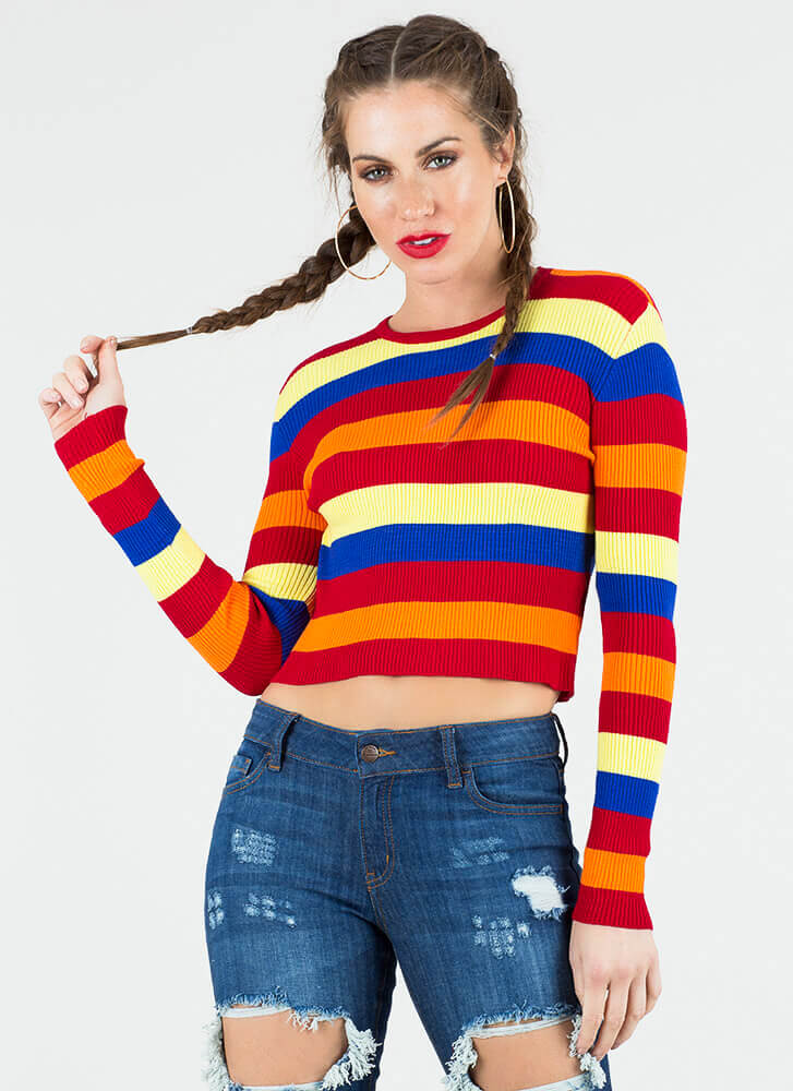 Fun And Games Striped Rib Knit Top REDMULTI