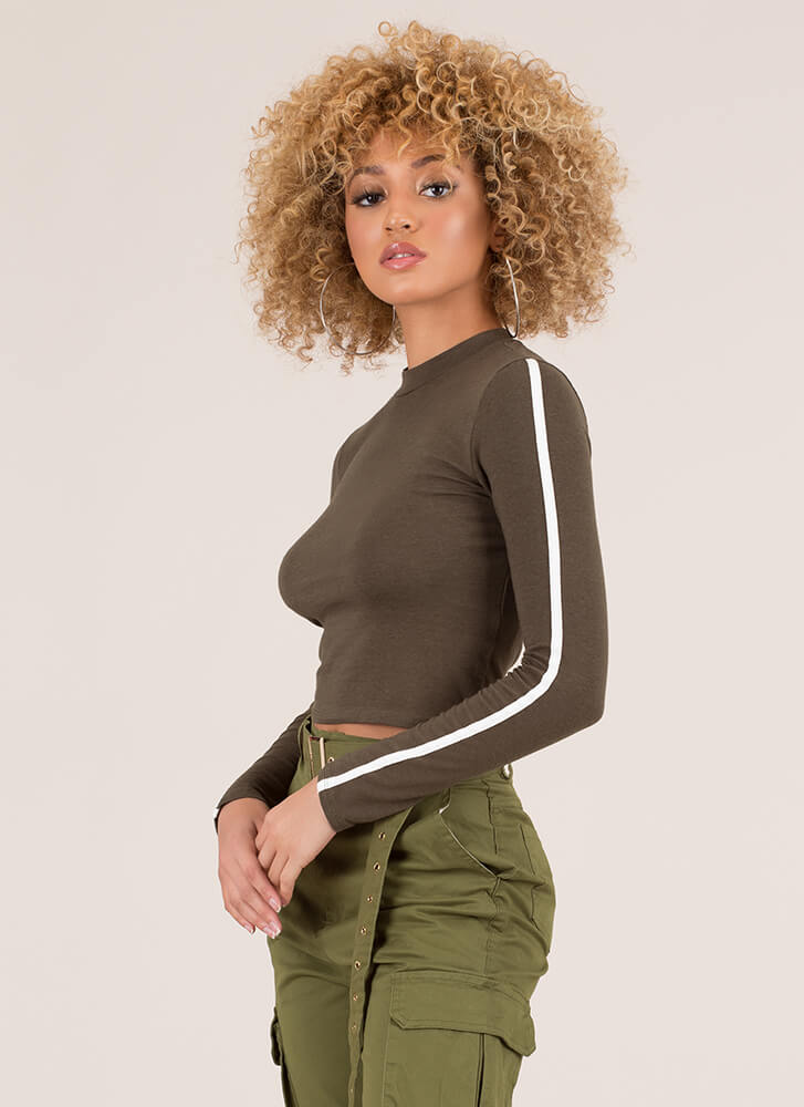 Lining Up Striped Sleeve Crop Top OLIVE