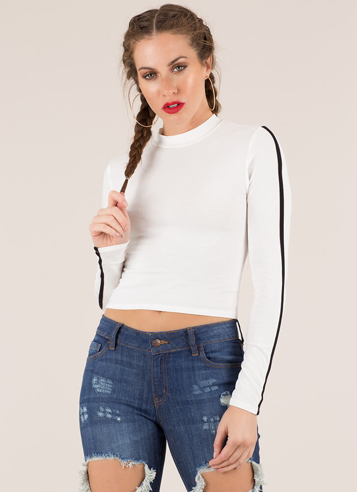 Lining Up Striped Sleeve Crop Top WHITE