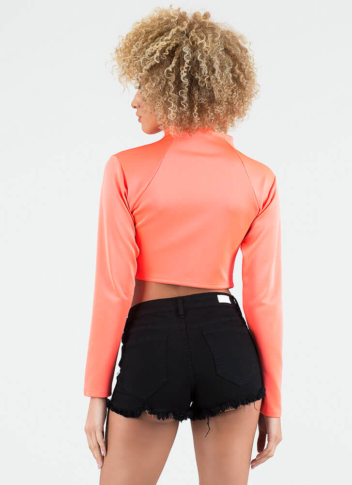 So Ready Zip-Front Scuba Crop Top NEONORANGE