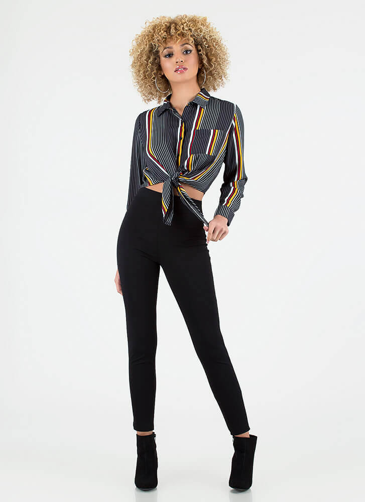 Knot Today Striped Cropped Blouse BLACK