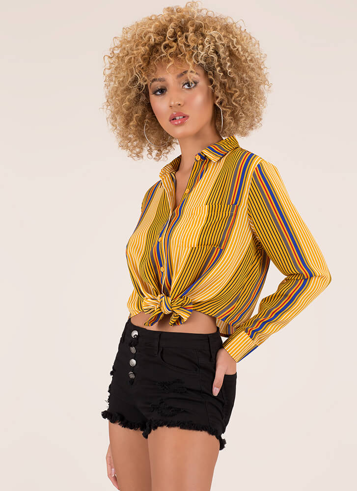 Knot Today Striped Cropped Blouse MUSTARD (You Saved $11)