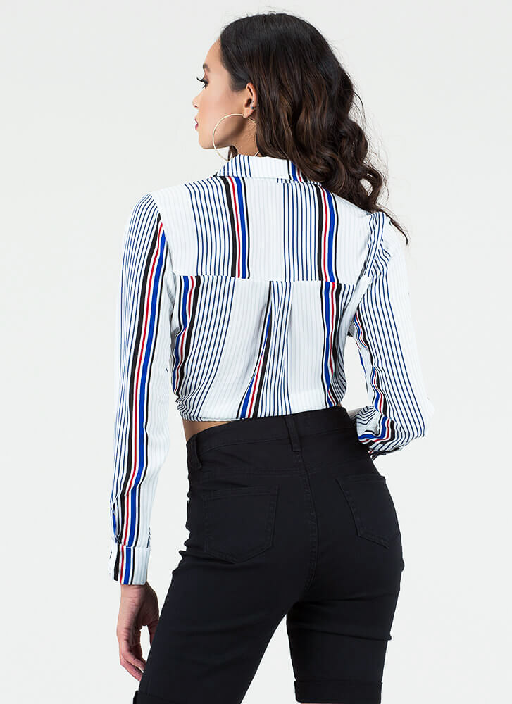 Knot Today Striped Cropped Blouse WHITE