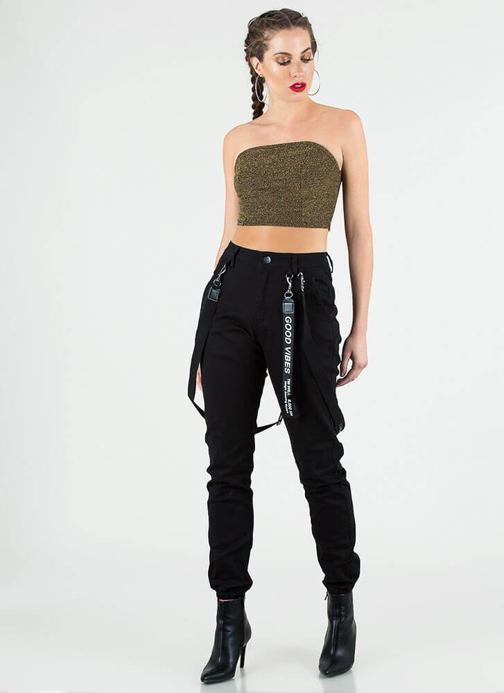 Short And Sparkly Cropped Tube Top GOLD