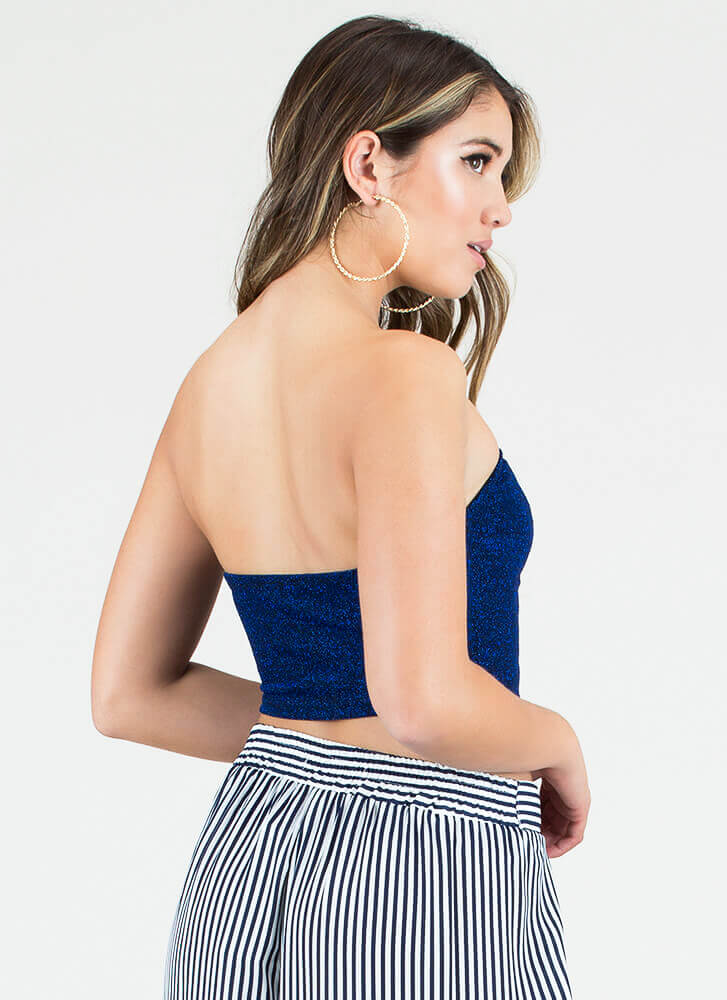 Short And Sparkly Cropped Tube Top ROYAL