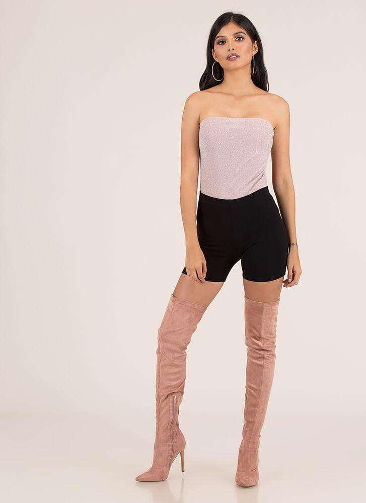 Go For Glitter Strapless Tied Bodysuit PINK