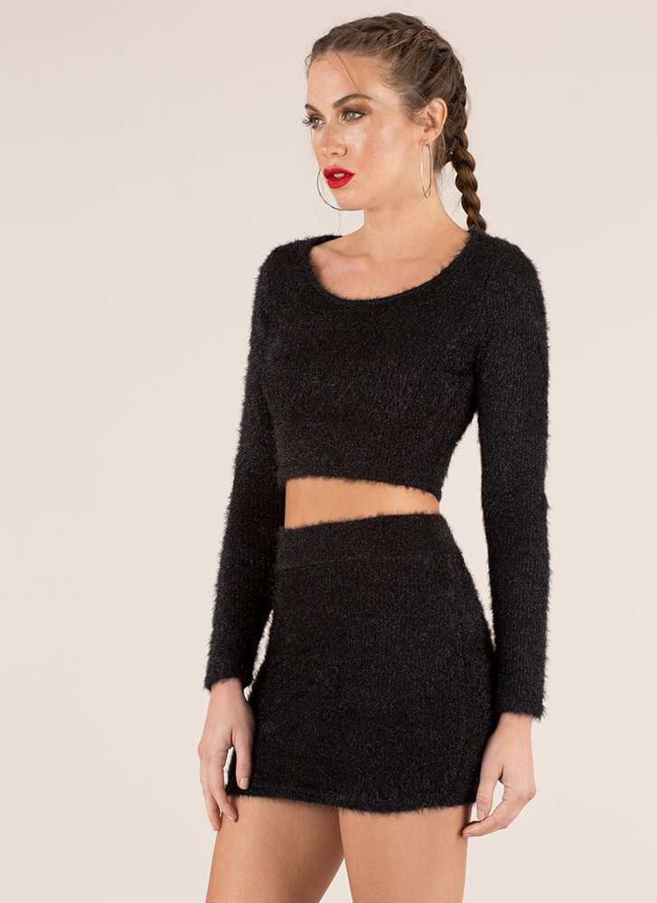 Fuzz-Worthy Knit Top And Skirt Set BLACK